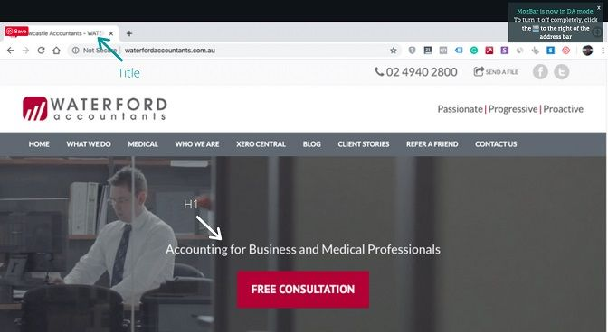 Homepage of waterford accountants